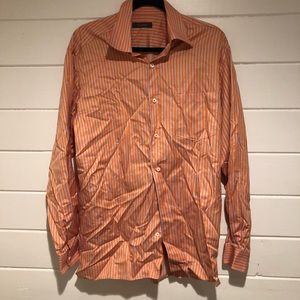 Ermenegildo Zegna Men Dress Shirt Orange Pinstripe